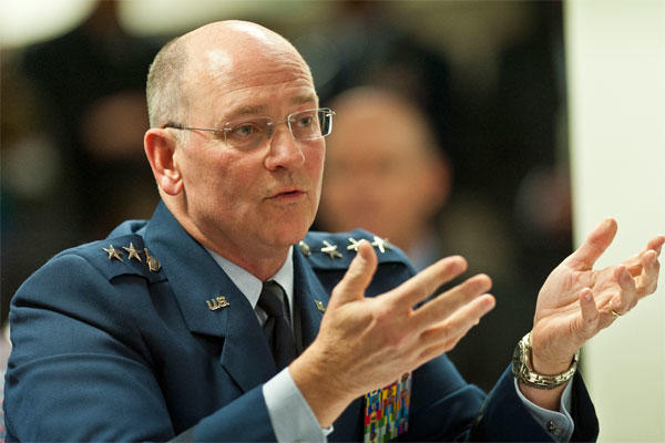 Lt. Gen. James F. Jackson, the chief of the Air Force Reserve, testifies to the National Commission of the Structure of the Air Force October 24, 2013 in Arlington, Va. (U.S. Air Force photo)