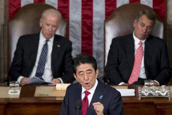 Japanese Prime Minister Shinzo Abe speaks before a joint meeting of Congress, Wednesday, April 29, 2015, on Capitol Hill in Washington. (AP Photo/Carolyn Kaster)