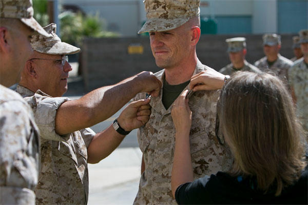 Marine Corps Master Sgt. Thomas Draffen is promoted to master gunnery sergeant at Marine Corps Air Station Yuma, Ariz., April 1, 2015. (U.S. Marine Corps photo/Cpl. Xzavior T. McNeal)