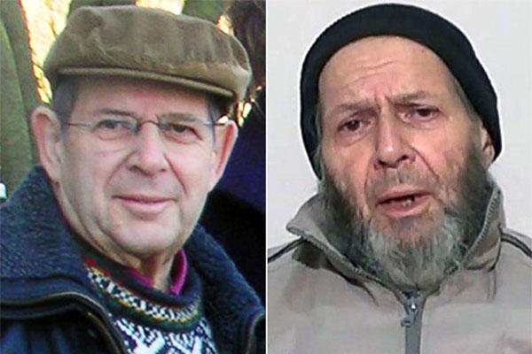 Warren Weinstein is shown in a Jan. 6, 2009 photo, left, and in a still from video released anonymously to reporters in Pakistan, Dec. 26, 2013. (Credit: Mike Redwood/AP Photo)