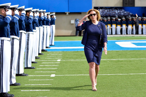Secretary of the Air Force Deborah Lee James enters Falcon Stadium to deliver the commencement address to the U.S. Air Force Academy's Class of 2015 at Falcon Stadium in Colorado Springs, Colo., May 28, 2015. U.S. Air Force photo by Mike Kaplan