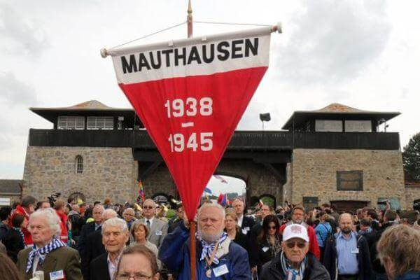 Members of the international Mauthausen committee arrive for a May 10 ceremony to commemorate the 70th anniversary of the liberation of the Nazi concentration camp in Mauthausen, Austria. (Photo: Ronald Zak/AP)