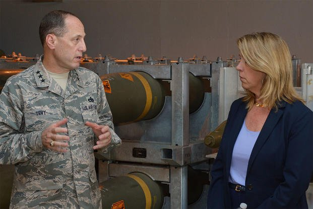 Secretary of the Air Force Deborah Lee James talks with Lt. Gen. Lee K. Levy II, the Air Force Sustainment Center commander, during her visit to Hill Air Force Base, Utah, July 23, 2015. (U.S. Air Force photo/Alex R. Lloyd)