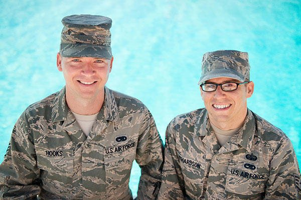 Staff Sgt. Edgar Hooks and Staff Sgt. Sean Richardson used their Air Force training to save the life of a 6-year-old boy who was drowning in a friend's pool. (U.S. Air Force/Ken Wright)