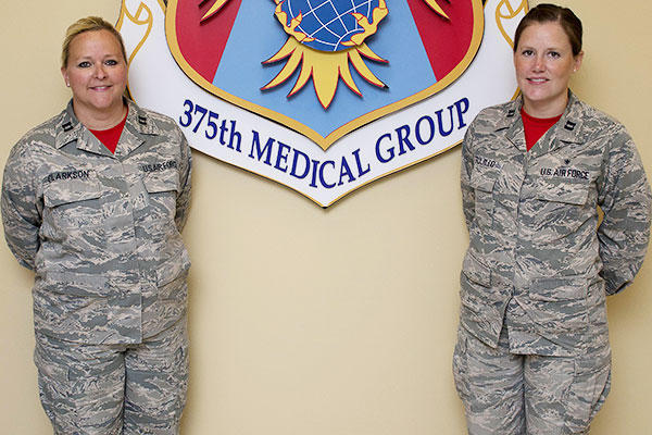 Capts. Linda Clarkson and Michelle Trujillo saved a 9-year-old boy at Lost Valley Lake Resort in Owensville, Mo. (U.S. Air Force photo/Airman 1st Class Kiana Brothers)