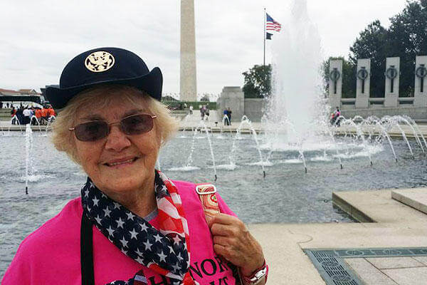 """It's a dream come true,"" Army veteran Sara Abrams said about being a part of the first all-female honor flight. She is seen at the World War II memorial in Washington, D.C., during the one-day tour, Sept. 22, 2015. (DoD photo by Lisa Ferdinando)"