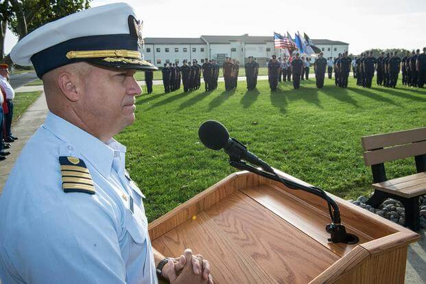 Capt. Todd Prestidge, commanding officer of Coast Guard Training Center Cape May, during a ceremony honoring Signalman 1st Class Douglas Munro, Sunday, Sept. 27, 2015. (Photo by Chief Warrant Officer John Edwards)