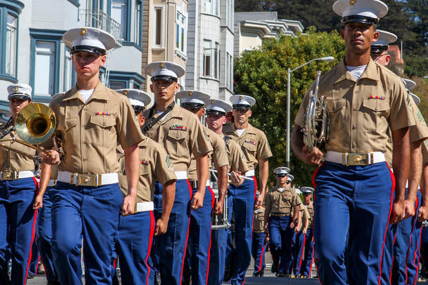 Marines with the 1st Marine Division Band march past the Coit Tower during the Italian heritage parade on Oct. 11., as part of San Francisco Fleet Week 2015. Photo By: Cpl. Joshua Murray