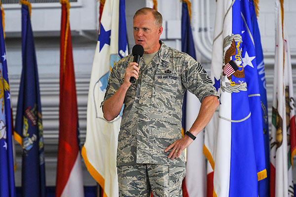 Chief Master Sgt. of the Air Force James A. Cody speaks to Airmen during an all call at Hurlburt Field, Fla., Sept. 30, 2015. (U.S. Air Force photo/Airman Kai White)