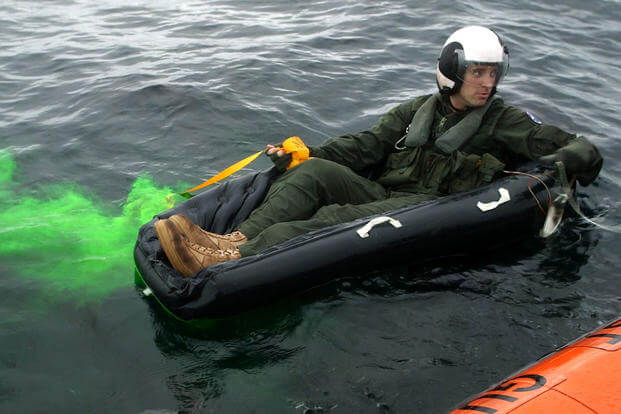 A Marine deploys a sea dye marker during a search and rescue exercise off the coast of Charleston, Nov. 3. (U.S. Marine Corps courtesy photo)