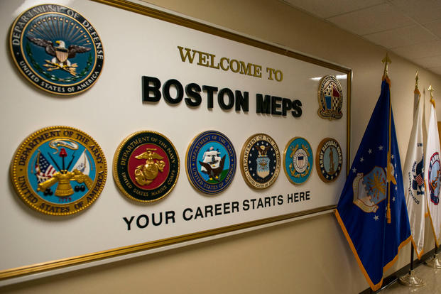 A welcome sign greets military hopefuls at the entrance to the Boston Military Entrance Processing Station. (Photo: Petty Officer 2nd Class Cynthia Oldham)
