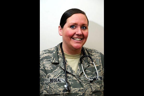 Staff Sgt. Christina Begeal, a 22nd Medical Group aerospace medical technician, at McConnell Air Force Base, Kan. Begeal saved the life of an individual at a restaurant who suffered a seizure. (U.S. Air Force /Airman Jenna K. Caldwell)
