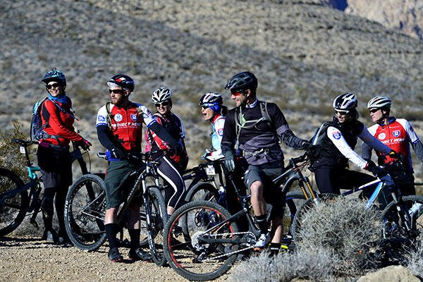 U.S. veterans participating in a Ride 2 Recovery program enjoy a laugh before starting a mountain bike ride Feb. 2, 2016, at Blue Diamond, Nev. (U.S. Air Force photo/Senior Airman Christian Clausen)