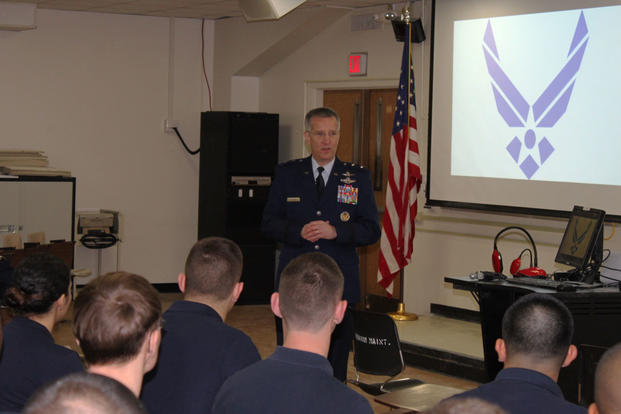 Maj. Gen. Vincent Mancuso, the mobilization assistant to the Air Force chief of staff, speaks to Air Force ROTC Detachment 330 cadets at the University of Maryland in College Park, Md., Feb. 18, 2016. (Photo: Zach Anderson)