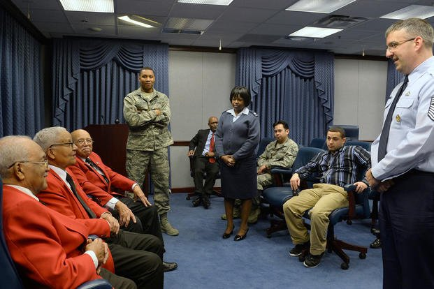 Tuskegee Airmen former Cadet William Fauntroy Jr., retired Col. Charles McGee and former Cadet Walter Robinson Sr. share their stories with a group of Airmen and civilians at the Pentagon Feb. 16; 2016. (Photo: Scott M. Ash)