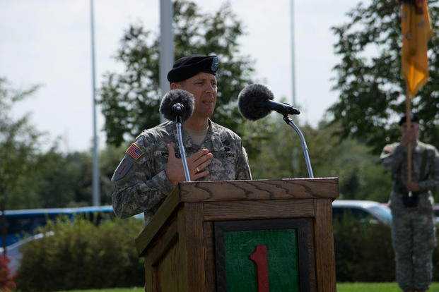 Brig. Gen. Eric J. Wesley, Deputy Commanding General (Support), 1st Infantry Division, speaks to an audience during a victory with honors ceremony at 1st Inf. Div. Headquarters Sept. 19. (Photo: Staff Sgt. Jerry Griffis, 1st Inf. Div. Public Affairs)