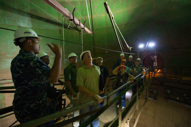 Capt. Ken Epps leads a tour during a visit to one of the fuel tanks at the Red Hill Underground Fuel Storage Facility near Pearl Harbor. (Photo: Mass Communication Specialist 2nd Class Laurie Dexter)