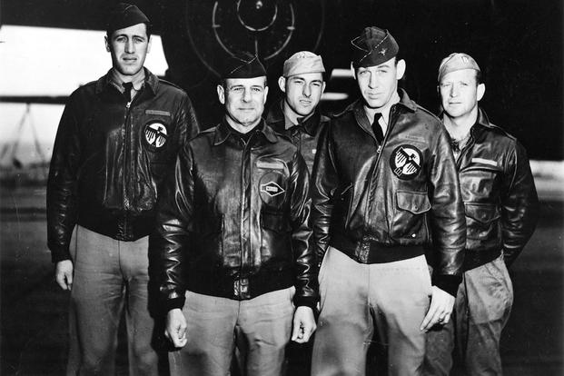 From left to right, Lt. Henry Potter, navigator; Lt. Col. James Doolittle, pilot; Staff Sgt. Fred Braemer, bombardier; Lt. Richard Cole, co-pilot; and Staff Sgt. Paul Leonard, engineer/gunner, aboard the USS Hornet in April 1942. (Courtesy photo)