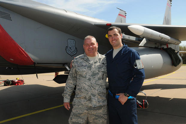 Air Force Master Sgt. Donny Masciadrelli, 104th Fighter Wing avionics technician, and his son, Air Force Tech. Sgt. Danny Masciadrelli, 104th Fighter Wing F-15 crew chief. (Air National Guard/1st Lt. Bonnie Harper)
