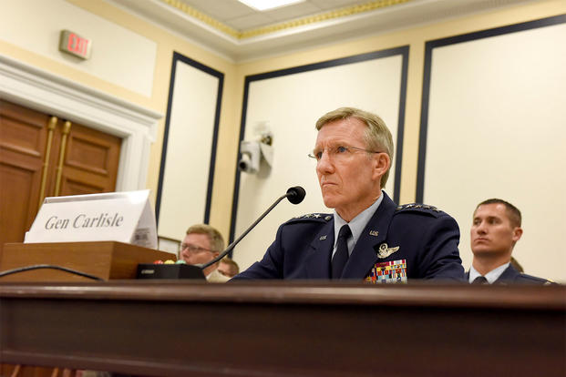 Gen. Hawk Carlisle, the Air Combat Command commander, engages with the House Armed Services Subcommittee on Tactical Air and Land Forces during a hearing in Washington, D.C., July 13, 2016. (Photo: Senior Airman Hailey Haux)