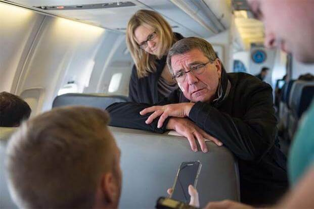 Defense Secretary Ash Carter answers a reporter's question during a flight to California, Nov. 14, 2016. (DoD photo by Army Sgt. Amber I. Smith)