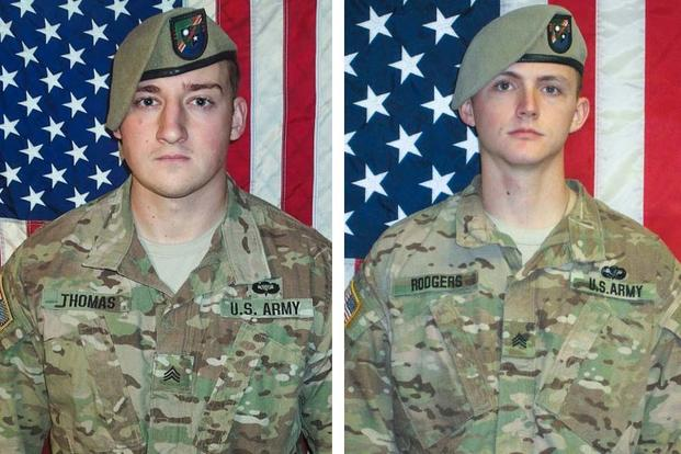 Army Rangers Sgt. Cameron H. Thomas and Sgt. Joshua P. Rodgers were killed in a raid on ISIS in Afghanistan, the Pentagon announced. (U.S. Army Photo)