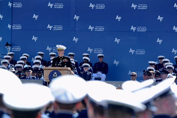 Chairman of the Joint Chiefs of Staff Marine Gen. Joseph Dunford gives the commencement speech for the Class of 2017 at the U.S. Air Force Academy, May 24, 2017. (U.S. Air Force photo/Tech. Sgt. Julius Delos Reyes)