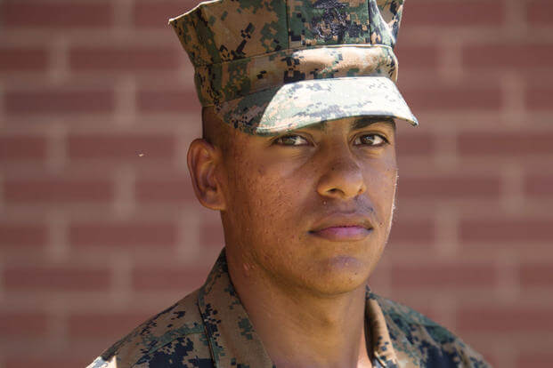 Pvt. Daniel Ramirez Rodriguez, Platoon 2050, Hotel Company, 2nd Recruit Training Battalion, earned U.S. citizenship July 13, 2017, on Parris Island, S.C. (U.S. Marine Corps photo/Lance Cpl. Maximiliano Bavastro)