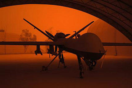 An MQ-9 Reaper sits in a hanger during a sandstorm at Joint Base Balad, Iraq. Photo by Senior Airman Jason Epley