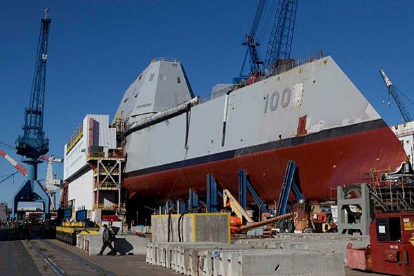 In this photo made Tuesday, Oct. 8, 2013, the first-in-class Zumwalt, the largest U.S. Navy destroyer ever built, is seen at Bath Iron Works in Bath, Maine. The christening of the Zumwalt was canceled once because of the government shutdown.