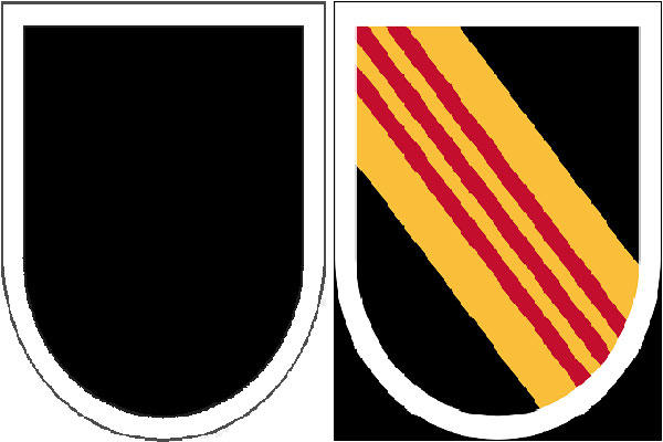 The Army's 5th Special Forces Group's existing beret flash (left) is a black shield-shaped embroidered item with a semicircular base. The new flash (right) reverts back to include alternating yellow and scarlet stripes. (Army Institute of Heraldry)