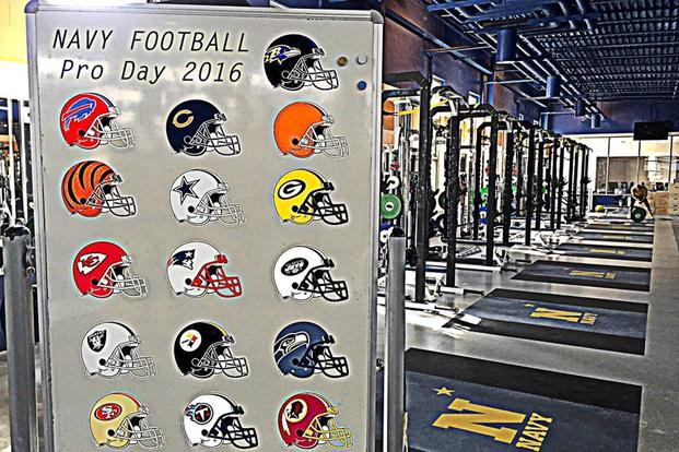 Sign welcoming representatives from 17 NFL organizations to the 2016 Navy Football Pro Day (Photo: Twitter/Navy Football, @Navy FB)