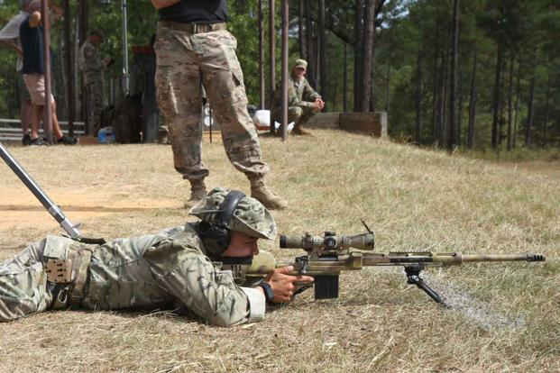 Sgt. Saykham Keophalychanh sights in on a target during the 2016 International Sniper Competition at Fort Benning, Georgia. (Photo: Michigan National Guard)