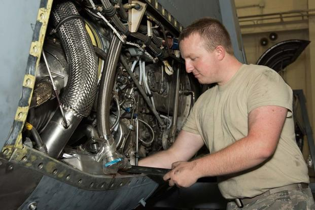Airman 1st Class John Karley, 136th Maintenance Squadron propulsion technician repairs a C-130H2 aircraft propulsion system at NAS Fort Worth Joint Reserve Base, Texas, Aug. 27, 2016. (Air National Guard / Senior Master Sgt. Elizabeth Gilbert)