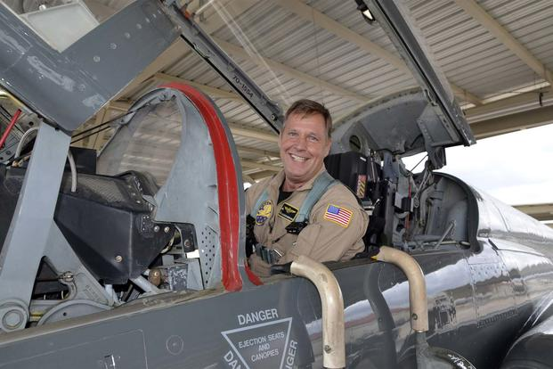 FILE -- Retired Navy Capt. Pieter Vandenbergh, also a former Air Force second lieutenant,  prepares for a training flight in a T-38 Talon flight Sept. 16, 2015 at Joint Base San Antonio-Randolph. (Photo by Kathleen Salazar)