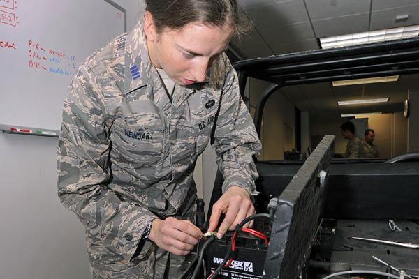 Airman fixing a battery.