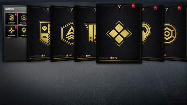 Destiny Guide Grimoire Cards Categories