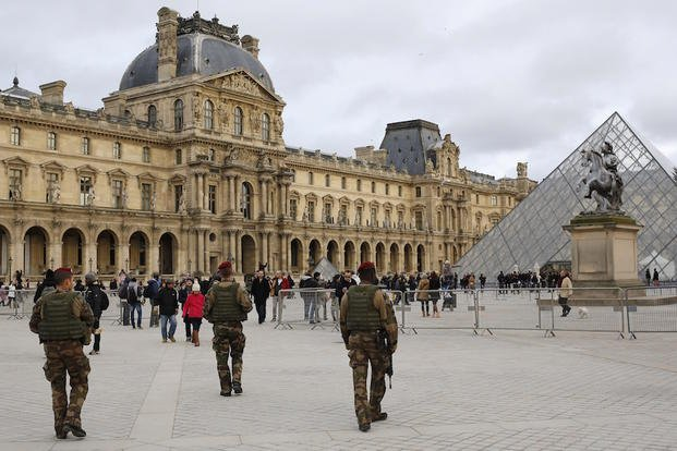 n this  a Jan.10 2015 file photo, of French soldiers as theypatrol near the Louvre Museum in Paris.