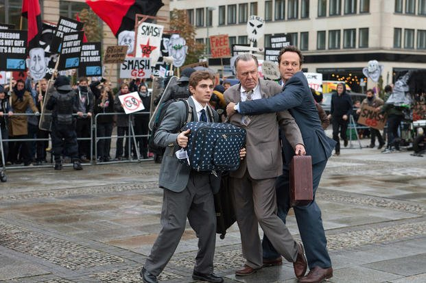 "This image released by 20th Century Fox shows, from left, Dave Franco, Tom Wilkinson and Vince Vaughn in a scene from ""Unfinished Business."" (AP Photo/20th Century Fox, Jessica Miglio)"