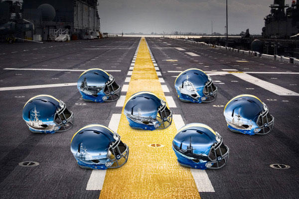 Navy's hand-painted helmets for the Army-Navy Game. (Image courtesy www.navysports.com)