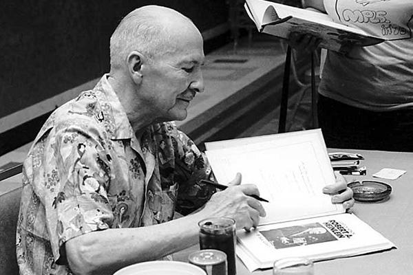 Robert A. Heinlein autographing at Midamericon