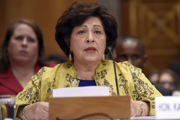 In this June 25, 2015, file photo, Office of Personnel Management Director Katherine Archuleta testifies on Capitol Hill in Washington. Susan Walsh/AP