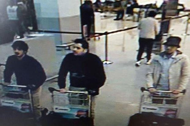 In this handout provided by the Belgian Federal Police, a screengrab of the airport CCTV camera shows suspects from the attacks at Brussels Airport pushing a trolley with suitcases, on March 22, 2016.