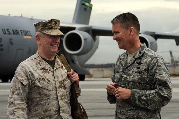 Marine Corps Gen. James Mattis with Air Force Col. James Jacobson, during an April 2012 visit to Kyrgyzstan, when Mattis led the U.S. Central Command. (Air Force photo/Angela Ruiz)