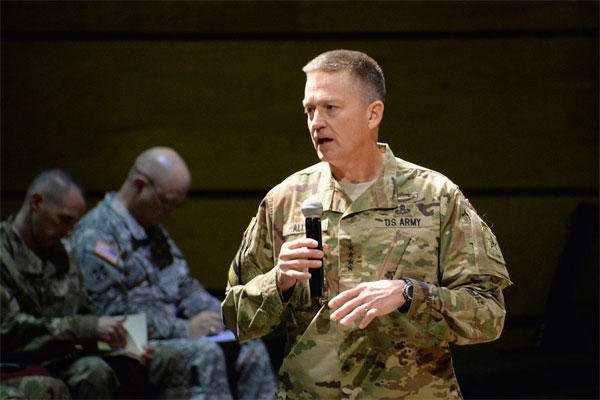 Gen. Daniel B. Allyn addresses an April 2016 symposium at Fort Bliss, Texas. He recently startled lawmakers when he testified that just three of the Army's 58 brigade combat teams are ready to fight. (US Army photo/James Seals)