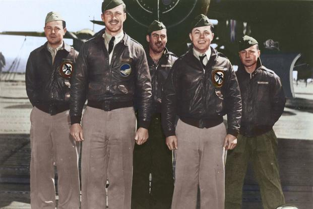 Crew 11: Capt. C. Ross Greening, pilot; Lt. Kenneth E. Reddy, copilot; Lt. Frank A. Kappeler, navigator; SSgt. William L. Birch, bombardier; Sgt. Melvin J. Gardner, flight engineer/gunner. (Colorized image © copyright 2017 Lori Lang, LBL Graphic Design)