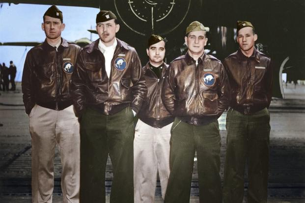 Crew 7: Lt. Ted W. Lawson, pilot; Lt. Dean Davenport, copilot; Lt. Charles L. McClure, navigator; Lt. Robert S. Clever, bombardier; Sgt. David J. Thatcher, flight engineer/gunner. (Colorized image © copyright 2017 Lori Lang, LBL Graphic Design)