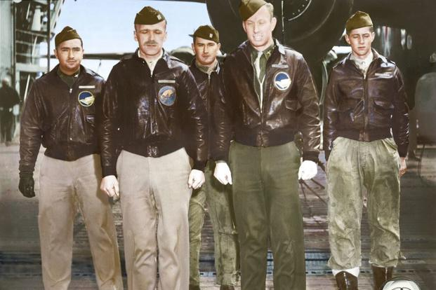 Crew 8: Capt. Edward J. York, pilot; Lt. Robert G. Emmens, copilot; Lt. Nolan A. Herndon, navigator/bombardier; SSgt. Theodore H. Laban, flight engineer; Sgt. David W. Pohl, gunner. (Colorized image © copyright 2017 Lori Lang, LBL Graphic Design)