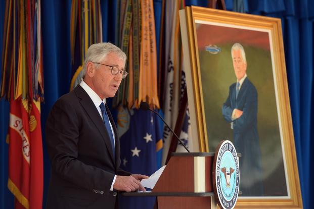 Former Defense Secretary Chuck Hagel speaks during his portrait unveiling ceremony hosted by Defense Secretary Jim Mattis at the Pentagon on May 19, 2017. U.S. Army photo by Mr. Leroy Council