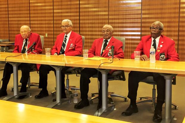 From left, Walter Robinson, Charles McGee, William Fauntroy Jr. and Major Anderson -- all Tuskegee Airmen -- gathered at an event hosted by the Air Force Academy Society on May 17, 2017, in Washington, D.C. (Photo by Oriana Pawlyk/Military.com)